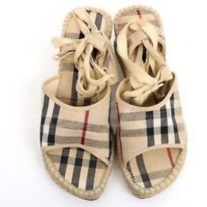 Authentic Burberry Lace-Up Espadrille Wedges